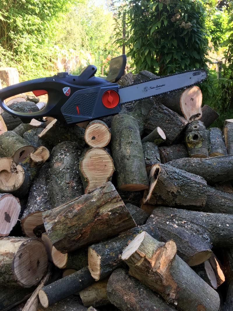 Brennholz sägen Elektro Kettensäge