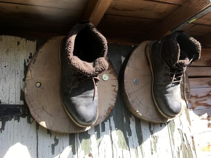 Vogelhaus aus Schuhen